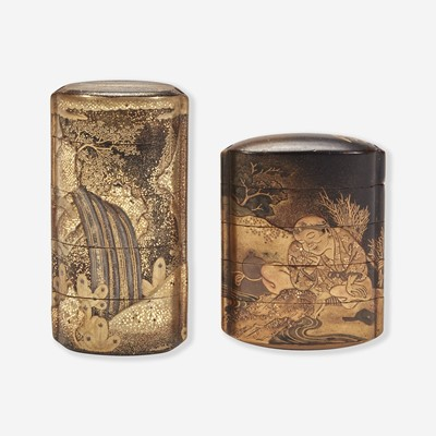 Lot 192 - Two Japanese lacquered inro 日本印笼一组两件