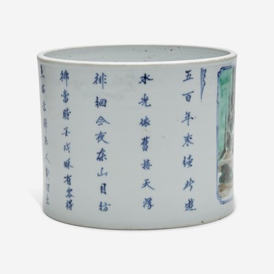 Lot 9 - A Chinese famille verte-decorated porcelain brush pot 五彩笔筒