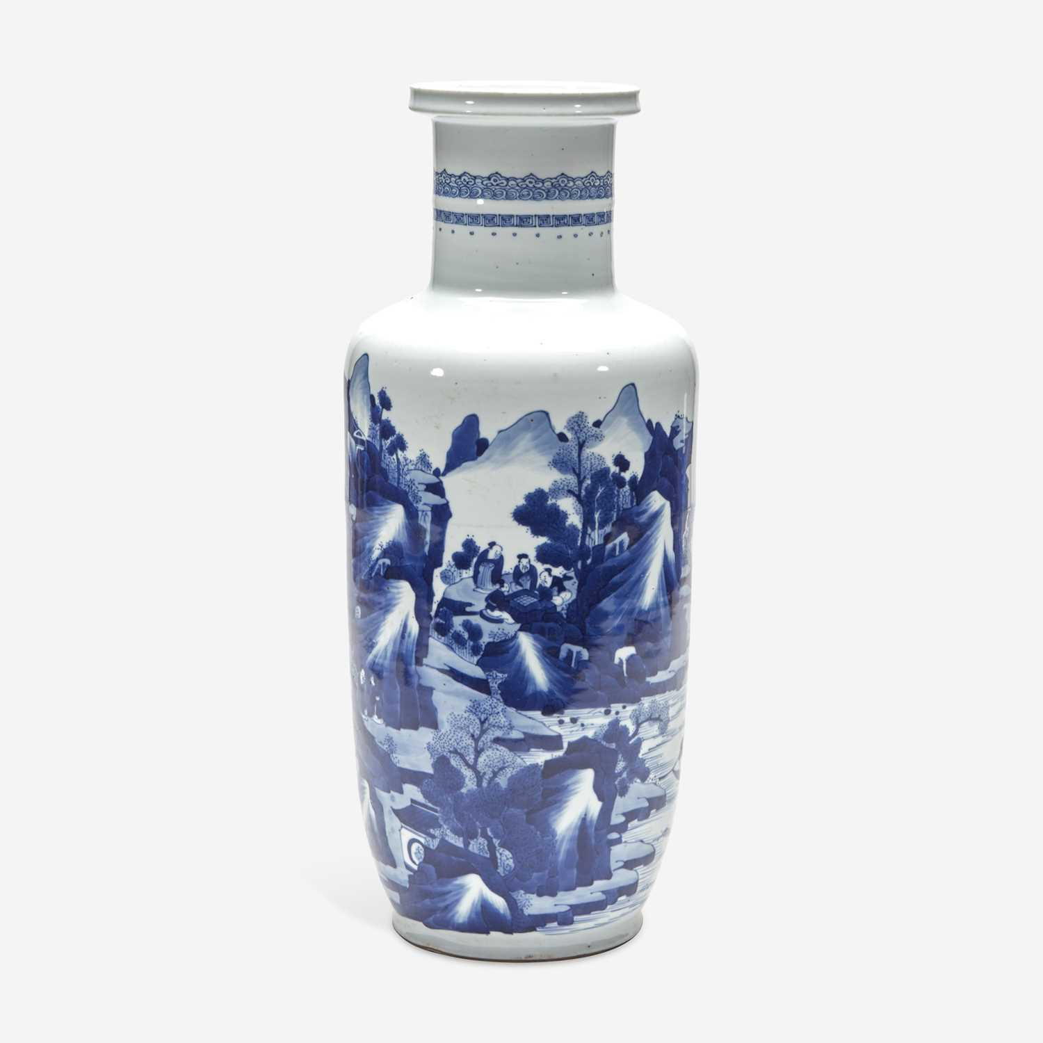 Lot 11 - A Chinese blue and white porcelain rouleau vase 青花山水人物纸槌瓶