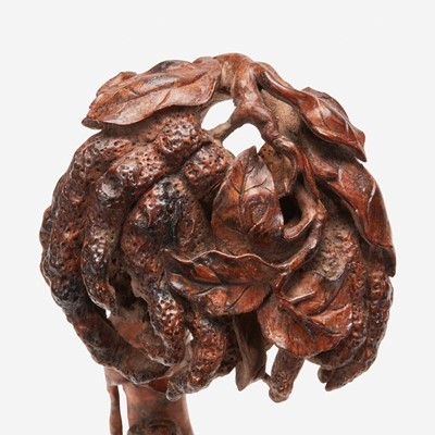 Lot 54 - A Chinese carved bamboo ruyi scepter 竹雕佛手如意