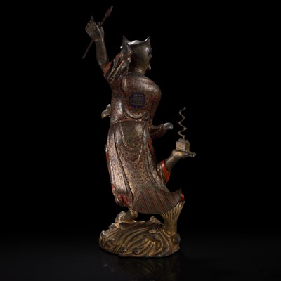 """Lot 46 - A large Chinese gilt and lacquered bronze figure of """"Kui Xing"""" 铜鎏金魁星"""