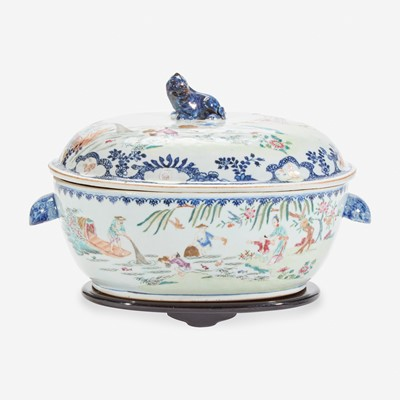 """Lot 17 - A Chinese export porcelain famille rose-decorated """"Fisherman"""" tureen and cover 粉彩出口瓷盖碗"""