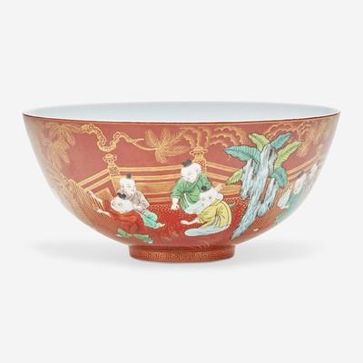 "Lot 31 - A Chinese famille verte coral-ground porcelain ""Boys"" bowl 五彩珊瑚地""童子""碗"