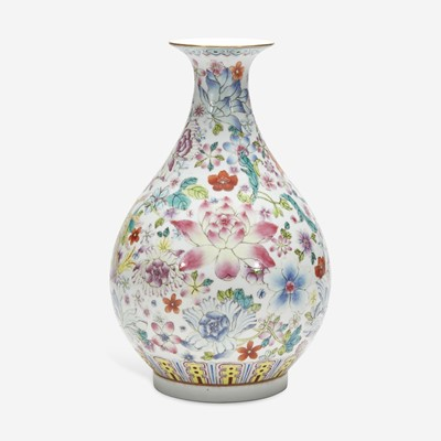"""Lot 37 - A Chinese famille rose-decorated """"100 Flowers"""" vase, Yuhuchunping 粉彩百花瓶"""