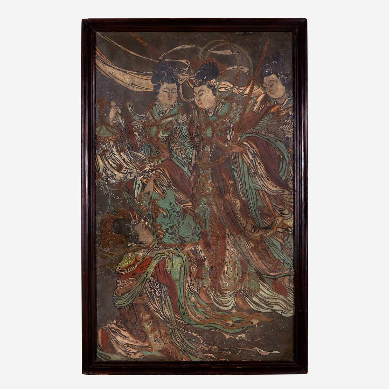 Lot 70 - A Large Chinese polychrome stucco fresco panel 灰泥彩绘天女图壁画