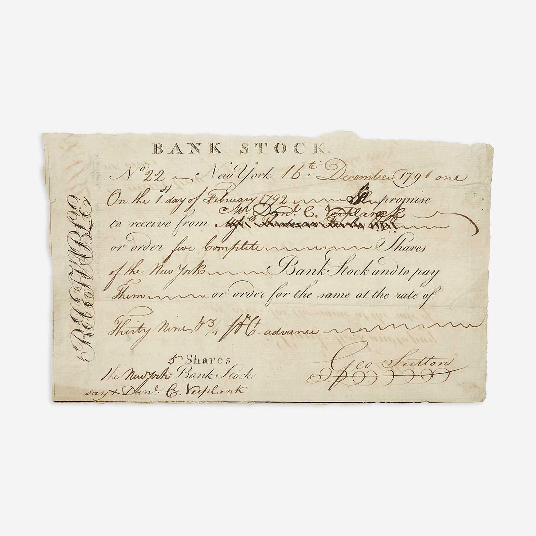 Lot 16 - [Hamilton, Alexander] [Bank of New York]