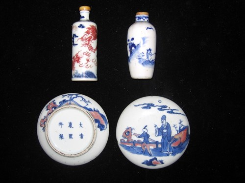 Lot 4 - Chinese blue and red underglazed porcelain soft-paste box and snuff bottle