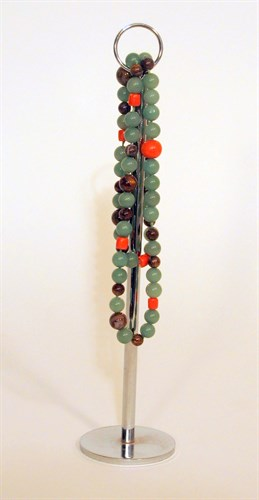 Lot 86 - Chinese coral, jadeite and brown stone string of beads