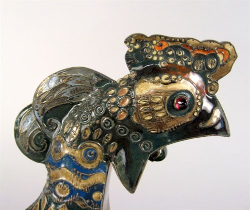 Lot 863 - Large Russian shaded enamel and silver-gilt kovsh