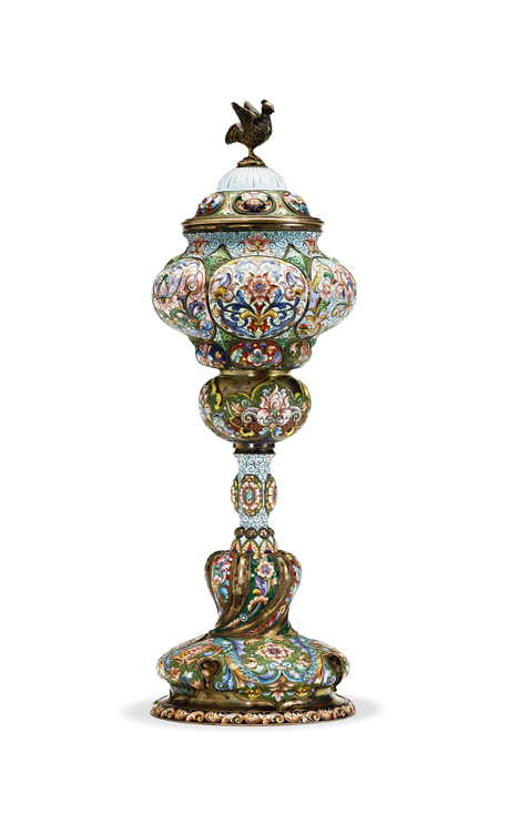 Lot 862 - Russian silver and shaded enamel covered chalice