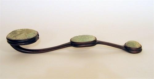 Lot 68 - Large Chinese jadeite mounted hardwood ruyi scepter