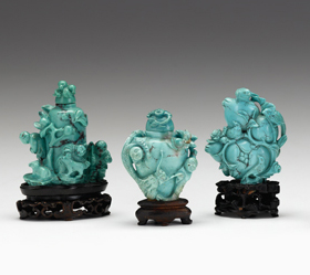 Lot 13 - Three Chinese turquoise carvings
