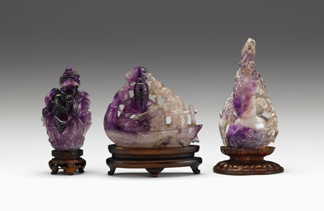Lot 12 - Two Chinese quartz snuff bottles, and carving