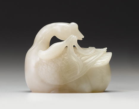 Lot 74 - Fine Chinese white jade mandarin duck model