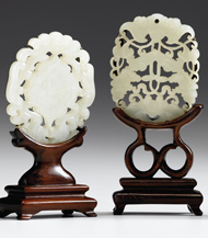 Lot 33 - Two Chinese white jade pendants