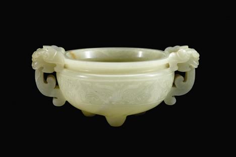 Lot 49 - Fine Chinese white jade censer