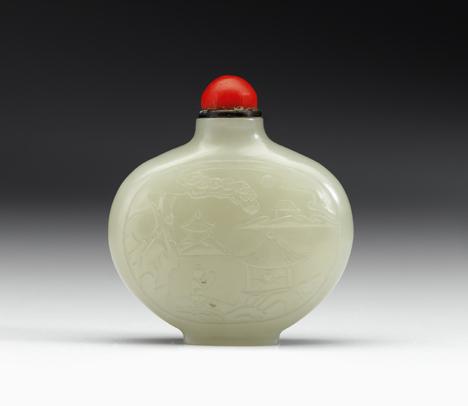 Lot 26 - Fine Chinese white-light celadon snuff bottle