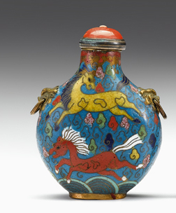 Lot 18 - Rare and unusual Chinese cloisonne and gilt-metal mounted snuff bottle