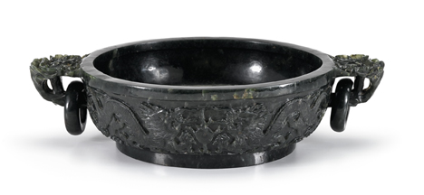 Lot 76 - Large Chinese spinach jade marriage bowl