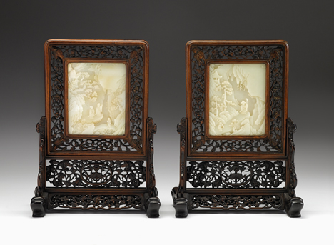 Lot 70 - Good pair of Chinese white jade insert hardwood table screens and stands