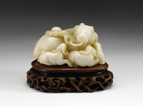 Lot 54 - Fine Chinese white jade 'rams' grouping
