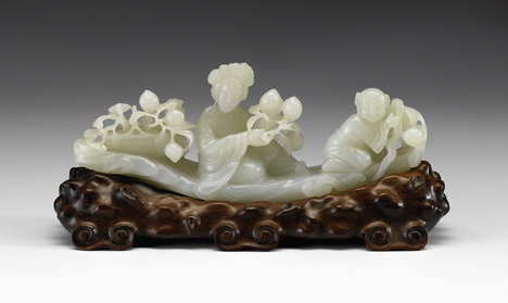 Lot 51 - Chinese white jade figural grouping