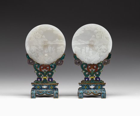 Lot 53 - Rare pair of Chinese white jade table screens and cloisonne bracket stands