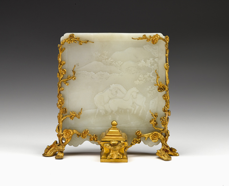 Lot 45 - Fine Chinese white jade table screen and French gilt-bronze stand