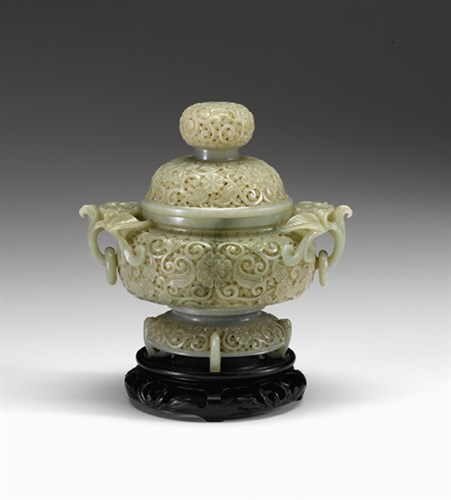 Lot 71 - Fine Chinese celadon jade reticulated covered censer