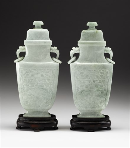 Lot 72 - Pair of large Chinese jadeite covered vases