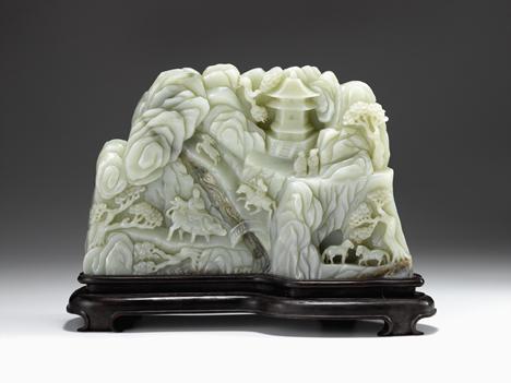 Lot 57A - Large Chinese light celadon jade mountain