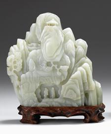 Lot 57D - Chinese celadon jade mountain boulder
