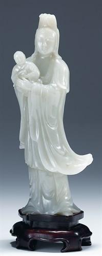 Lot 57E - Chinese celadon jadeite quanyin