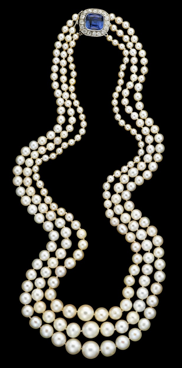 Lot 260 - Platinum, natural pearl, diamond and sapphire necklace, Cartier