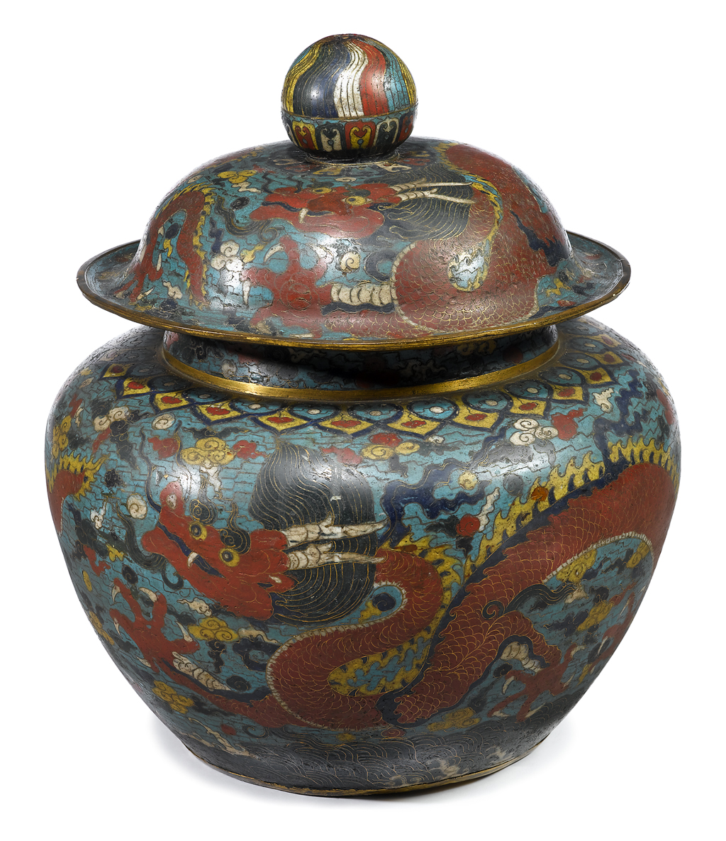 Lot 439 - Massive and Highly Important Chinese gilt bronze and cloisonne covered jar
