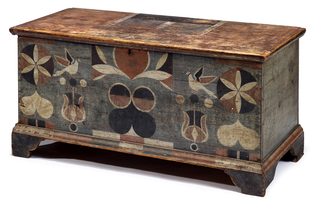 Lot 536 - Painted and decorated yellow pine blanket chest