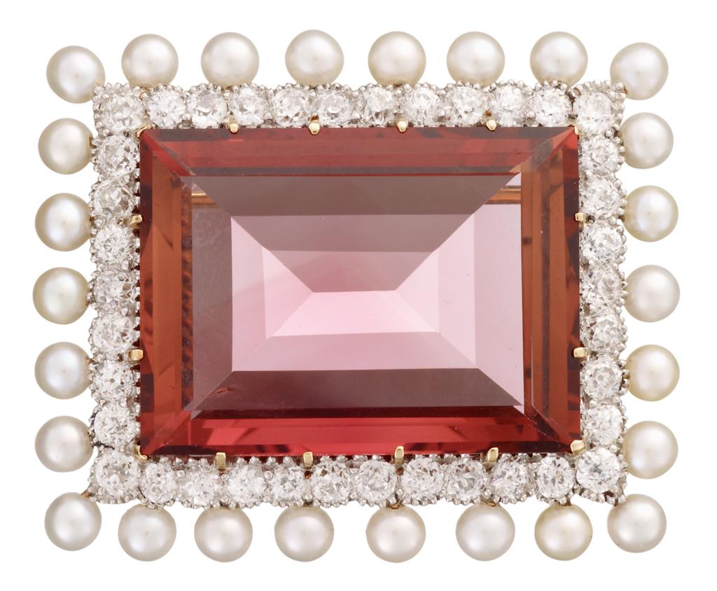 Lot 54 - 18 karat yellow gold, tourmaline, pearl and diamond brooch, Marcus & Co.