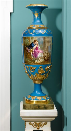 Lot 177 - Pair of Russian hand-painted and gilt decorated blue ground vases