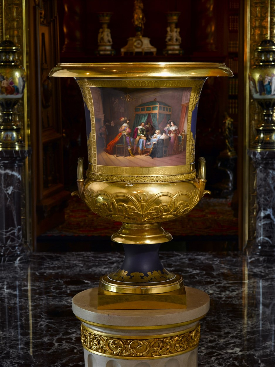 Lot 131 - Important ormolu mounted Russian Imperial hand painted gilt decorated porcelain urn