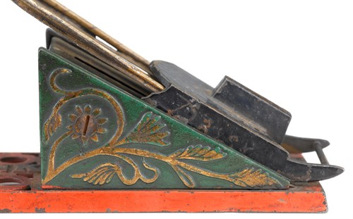 """Lot 285 - An extremely rare painted cast iron and lead mechanical """"Coasting Bank"""""""