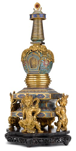 Lot 181 - Chinese cloisonne enamel gilt bronze stupa