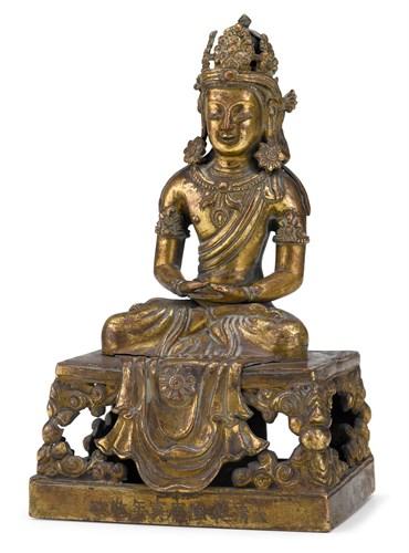 Lot 87 - Chinese gilt bronze figure of Amitayus