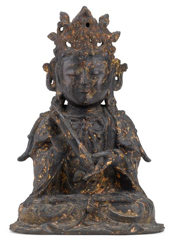 Lot 84 - Chinese gilt and lacquered bronze bodhisattva