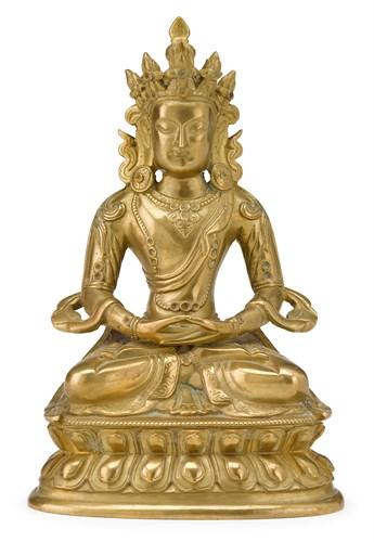Lot 85 - Sino-Tibetan gilt bronze bodhisattva