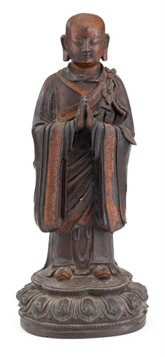 Lot 1 - Chinese lacquered bronze luohan