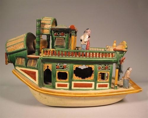 Lot 58 - Chinese sancai glazed model of a pleasure boat
