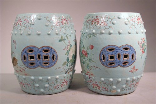 Lot 59 - Pair of Chinese enameled miniature garden stools