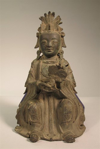 Lot 3 - A Chinese bronze Guanyin