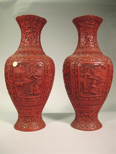 Lot 8 - Pair of Chinese cinnabar lacquer vases