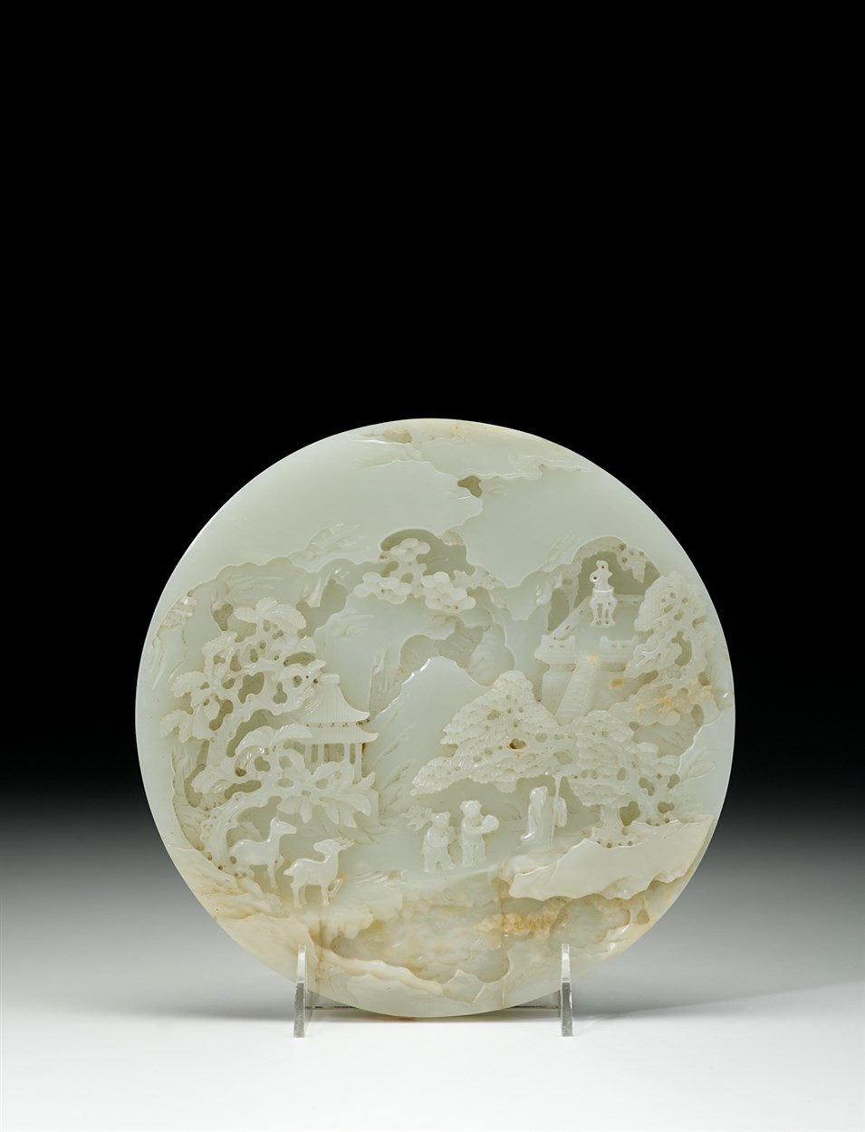 Lot 163 - Finely-carved Chinese white jade circular table screen